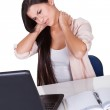 Woman with a stiff neck — Stock Photo