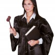 Female judge in a gown — Stock Photo