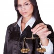 Judge holding the Scales of Justice — Stock Photo