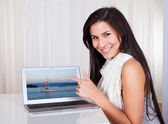 Happy woman shopping online — Stock Photo