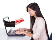 Woman doing online shopping or banking — Stock Photo