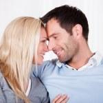 Romantic couple rubbing noses — Stock Photo