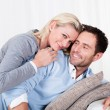 Stock Photo: Happy mand womcuddling