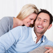Happy man and woman cuddling — Stock Photo