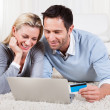 Stock Photo: Young couple shopping online
