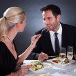 Romantic couple at the restaurant — Stock Photo