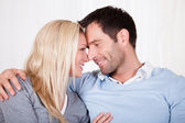Romantic couple rubbing noses — Stock Photo