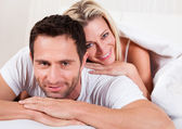 Smiling romantic couple — Stock Photo