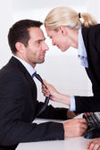 Flirting in the office — Foto Stock