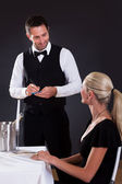 Waiter taking order — Stock Photo