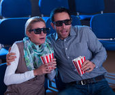 Couple reacting to a 3D movie — Stock Photo