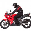 Biker rider his red motorcycle — Stock Photo #18597083