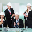 Cheering architectural team — Stock Photo
