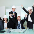 Cheering architectural team — Stock Photo #18597505