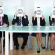 Row of business executives with smiley faces — Stock Photo #18597567