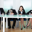 Bored panel of judges or interviewers — Stockfoto