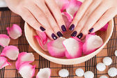 Female hands with fashion nails — Stock Photo