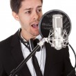 Foto Stock: Singer and microphone