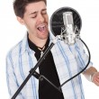 chanteur et microphone — Photo