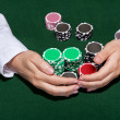 Croupier collecting in the bets — Stok fotoğraf