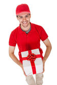 Messenger delivering a decorative gift — Stock Photo