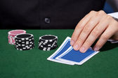 Hand of croupier — Foto de Stock