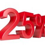 25 Percent Sale Discount — Stock Photo