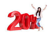 Exited Woman Jumping In Front Of 20 Percent Sale Discount — Stock Photo