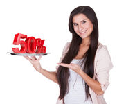 Woman presenting 50 Percent discount on silver platter — Stock Photo