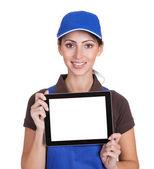 Smiling Female Plumber Holding Digital Tablet — Stock Photo