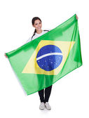 Pretty Woman Holding Brazilian Flag — Stock Photo