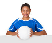 Happy Young Girl Holding Volleyball And Placard — Stock Photo