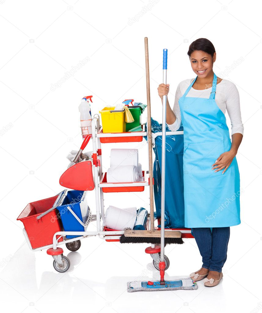 Female cleaner with cleaning equipment stock photo for House cleaning stock photos