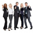 Successful businesspeople showing thumbs up — Stock Photo