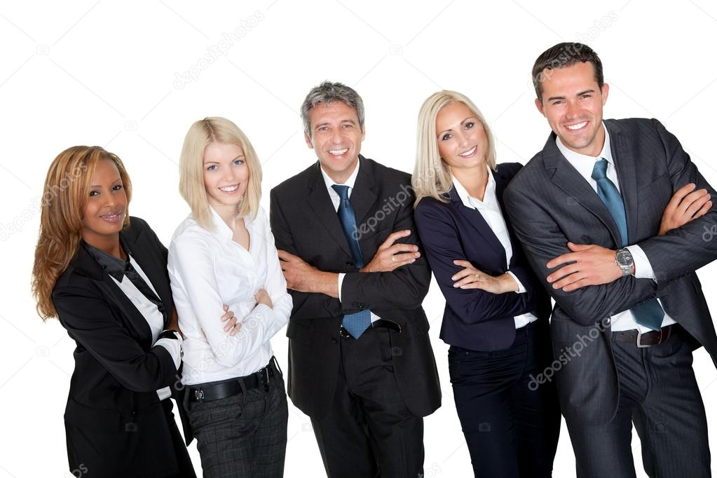 Business standing with hands folded against white background — Stock Photo #19638137