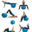 Set of fitness exercise photos — 图库照片