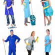 Professional cleaners with equipment — Stock Photo