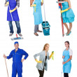 Professional cleaners with equipment — Stock Photo #19905855