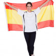 Portrait Of A Woman Holding Spanish Flag — Stock Photo #19906325