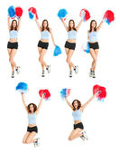 Set of photos with beautiful cheerleader — Stock Photo