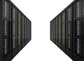 Two lines of server racks — Stock Photo