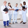 Team of professionals lead by mature doctor — Stock Photo