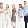 Young business group standing together on white — Stock Photo #19926309