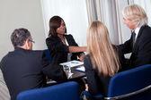 Job interview shaking hands — Stock Photo