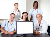 Closeup portrait of doctors in a meeting — Stock Photo