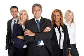 Successful business colleagues on white background — Stock Photo