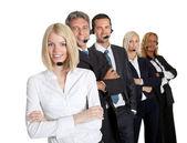 Positive customer service representatives on white — Stock Photo