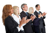 Group of business applauding on white — Stock Photo