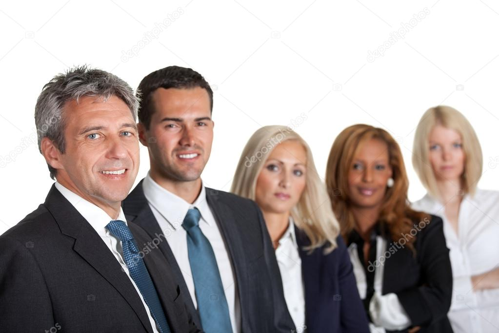 Portrait of a happy diverse business team in line on white background — Stock Photo #19926169