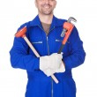 Happy Plumber Holding Plunger And Wrench — Stock Photo